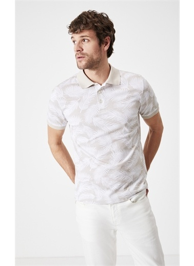 Boris Becker Slim Fit Baskılı Polo Yaka T-shirt Bej